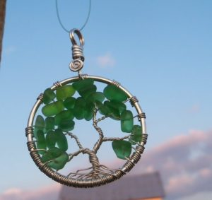 Green Sea Glass Tree of Life
