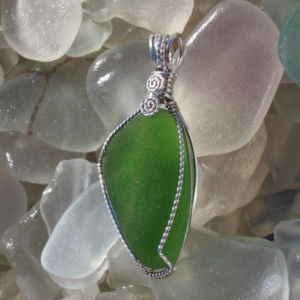 Sea glass pendants and necklace kelly green beach glass pendant aloadofball Images
