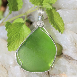 Lime Green Sea Glass Pendant